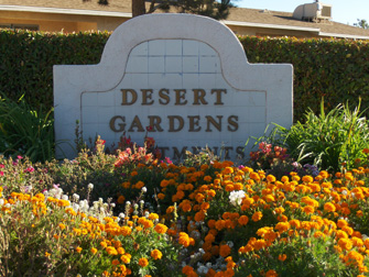 desert gardens apartments sign