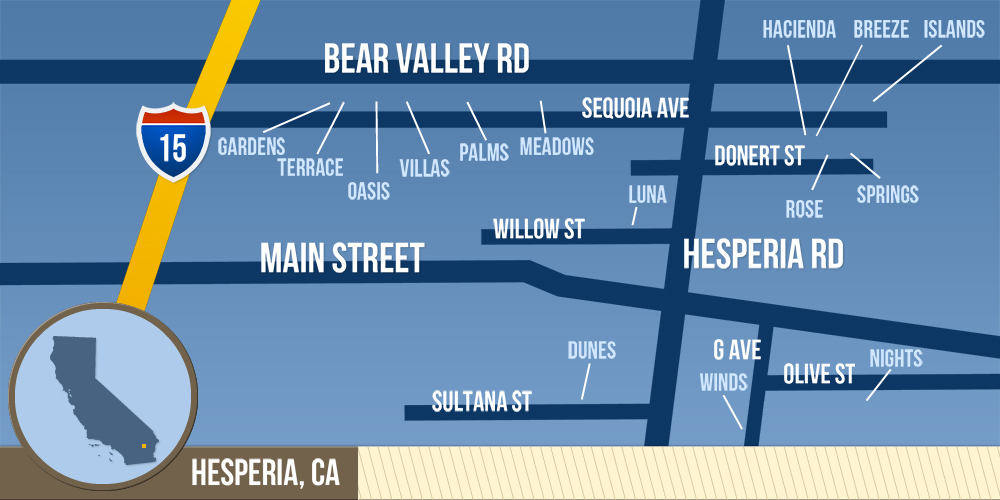 map of hesperia ca